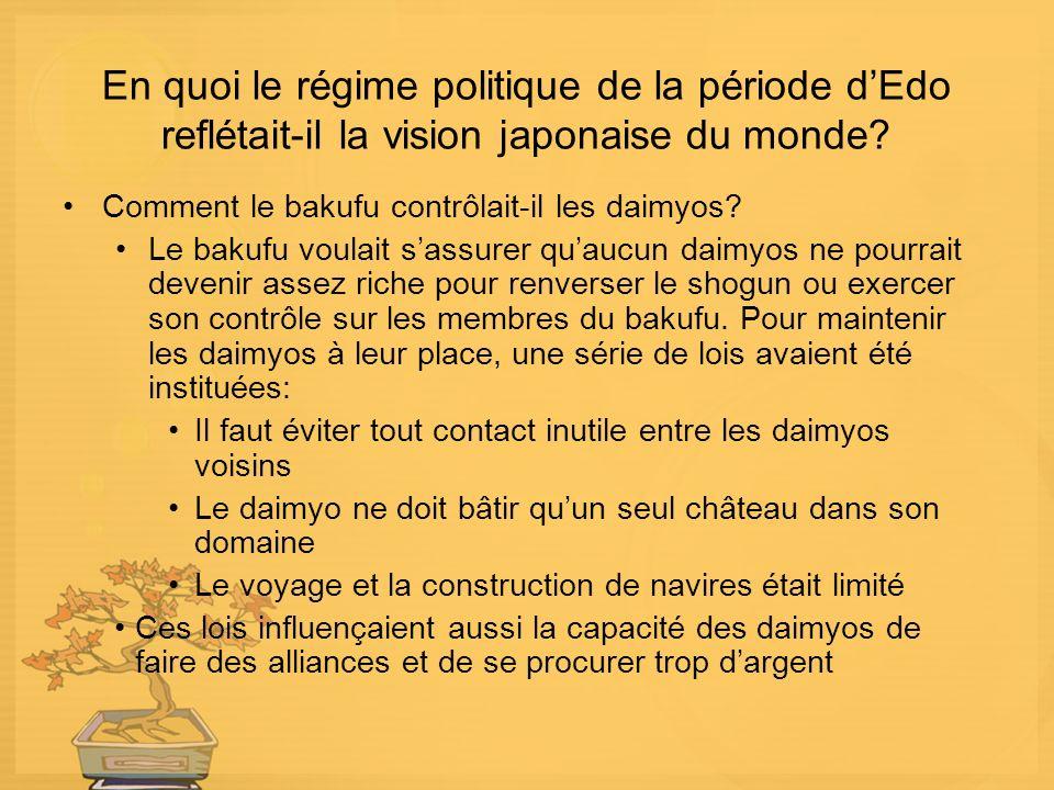 En quoi le régime politique de la période dEdo reflétait-il la vision japonaise du monde.