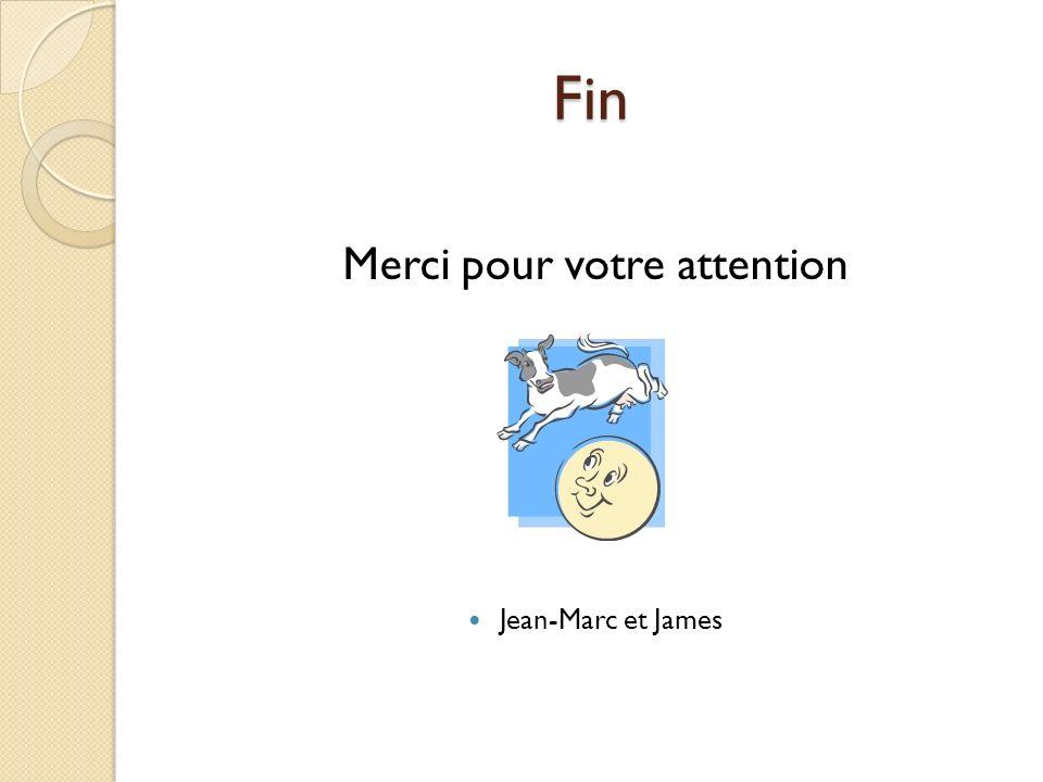 Fin Merci pour votre attention Jean-Marc et James