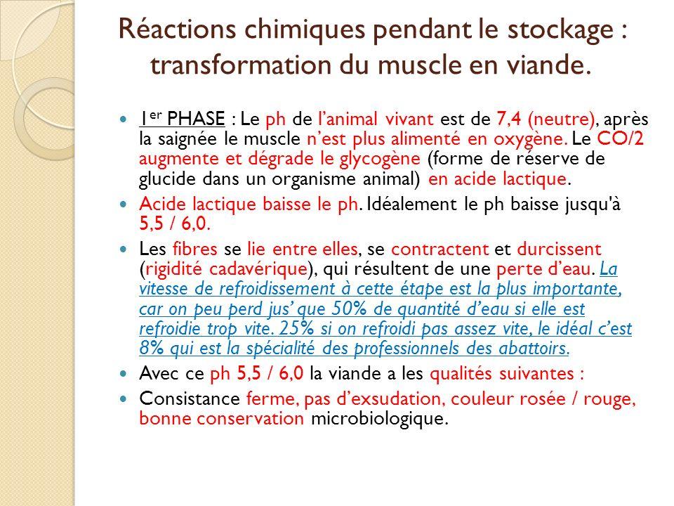 Réactions chimiques pendant le stockage : transformation du muscle en viande. 1 er PHASE : Le ph de lanimal vivant est de 7,4 (neutre), après la saign