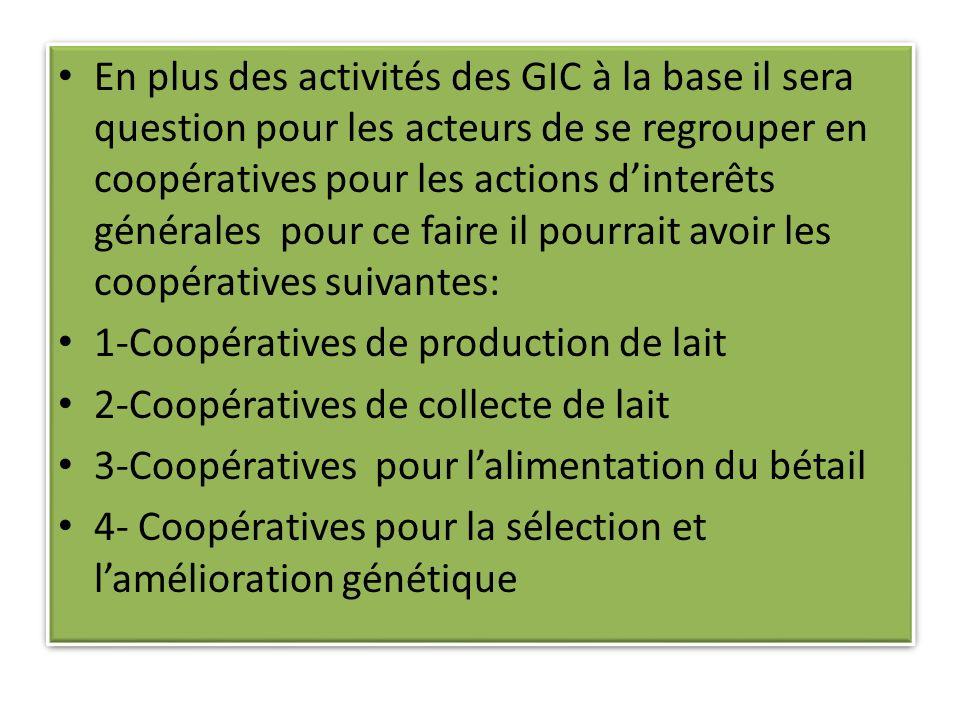 En plus des activités des GIC à la base il sera question pour les acteurs de se regrouper en coopératives pour les actions dinterêts générales pour ce faire il pourrait avoir les coopératives suivantes: 1-Coopératives de production de lait 2-Coopératives de collecte de lait 3-Coopératives pour lalimentation du bétail 4- Coopératives pour la sélection et lamélioration génétique En plus des activités des GIC à la base il sera question pour les acteurs de se regrouper en coopératives pour les actions dinterêts générales pour ce faire il pourrait avoir les coopératives suivantes: 1-Coopératives de production de lait 2-Coopératives de collecte de lait 3-Coopératives pour lalimentation du bétail 4- Coopératives pour la sélection et lamélioration génétique