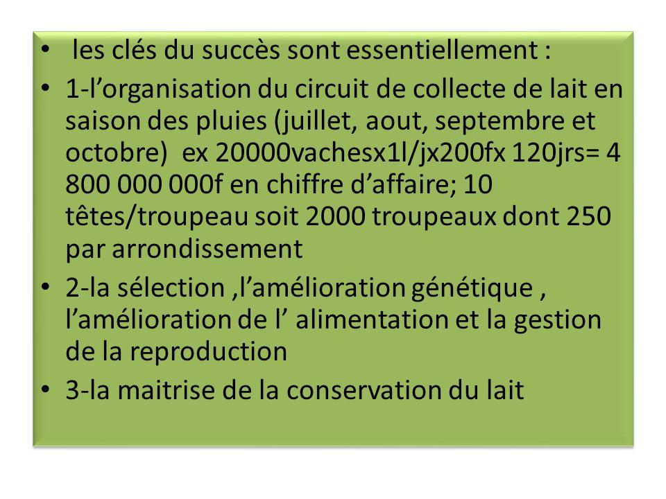 les clés du succès sont essentiellement : 1-lorganisation du circuit de collecte de lait en saison des pluies (juillet, aout, septembre et octobre) ex 20000vachesx1l/jx200fx 120jrs= 4 800 000 000f en chiffre daffaire; 10 têtes/troupeau soit 2000 troupeaux dont 250 par arrondissement 2-la sélection,lamélioration génétique, lamélioration de l alimentation et la gestion de la reproduction 3-la maitrise de la conservation du lait les clés du succès sont essentiellement : 1-lorganisation du circuit de collecte de lait en saison des pluies (juillet, aout, septembre et octobre) ex 20000vachesx1l/jx200fx 120jrs= 4 800 000 000f en chiffre daffaire; 10 têtes/troupeau soit 2000 troupeaux dont 250 par arrondissement 2-la sélection,lamélioration génétique, lamélioration de l alimentation et la gestion de la reproduction 3-la maitrise de la conservation du lait