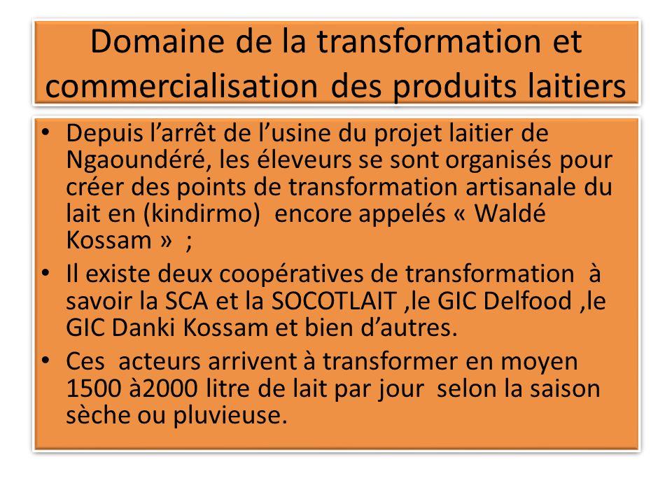 Domaine de la transformation et commercialisation des produits laitiers Depuis larrêt de lusine du projet laitier de Ngaoundéré, les éleveurs se sont organisés pour créer des points de transformation artisanale du lait en (kindirmo) encore appelés « Waldé Kossam » ; Il existe deux coopératives de transformation à savoir la SCA et la SOCOTLAIT,le GIC Delfood,le GIC Danki Kossam et bien dautres.