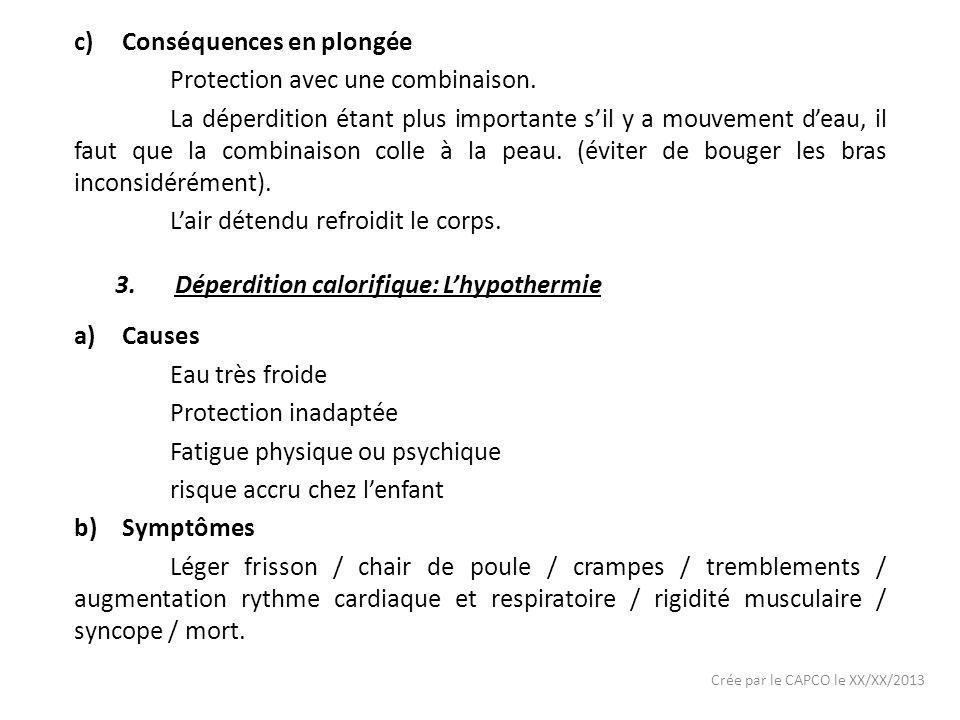 Crée par le CAPCO le XX/XX/2013 c)Conséquences en plongée Protection avec une combinaison. La déperdition étant plus importante sil y a mouvement deau