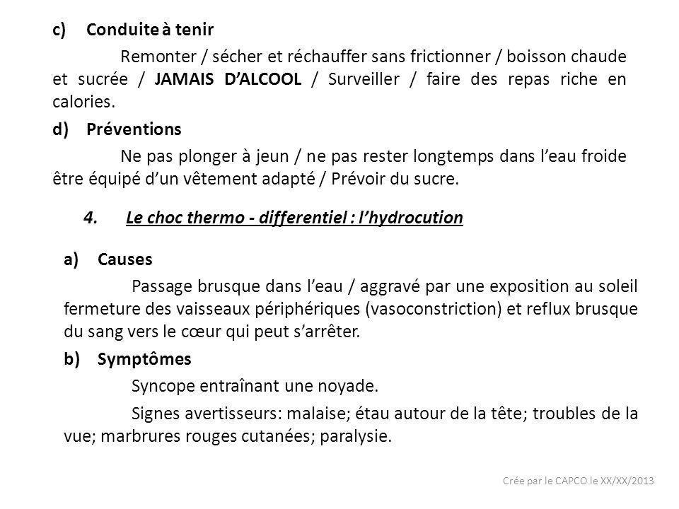 Crée par le CAPCO le XX/XX/2013 c)Conduite à tenir Sortir de leau / ranimer / réchauffer sans frictionner.