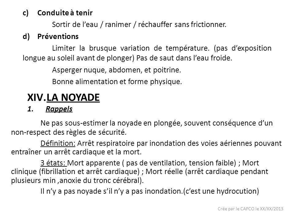 Crée par le CAPCO le XX/XX/2013 c)Conduite à tenir Sortir de leau / ranimer / réchauffer sans frictionner. d)Préventions Limiter la brusque variation