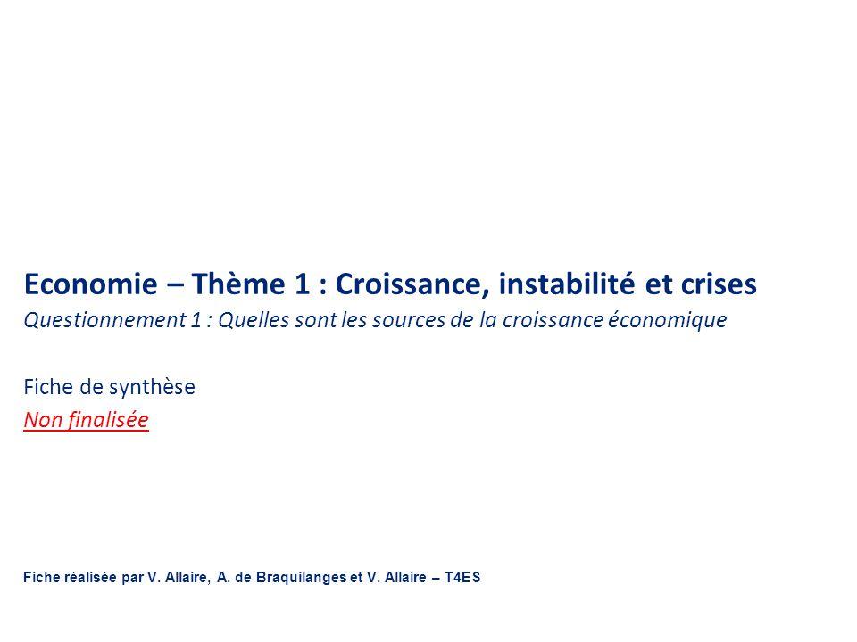 Economie – Thème 1 : Croissance, instabilité et crises Questionnement 1 : Quelles sont les sources de la croissance économique Fiche de synthèse Non f