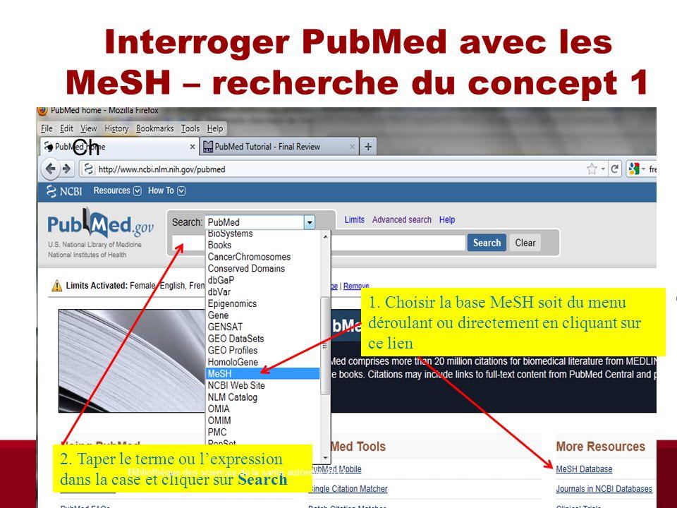 Interroger PubMed avec les MeSH – recherche du concept 1 Ch 1. Choisir la base MeSH soit du menu déroulant ou directement en cliquant sur ce lien 2. T