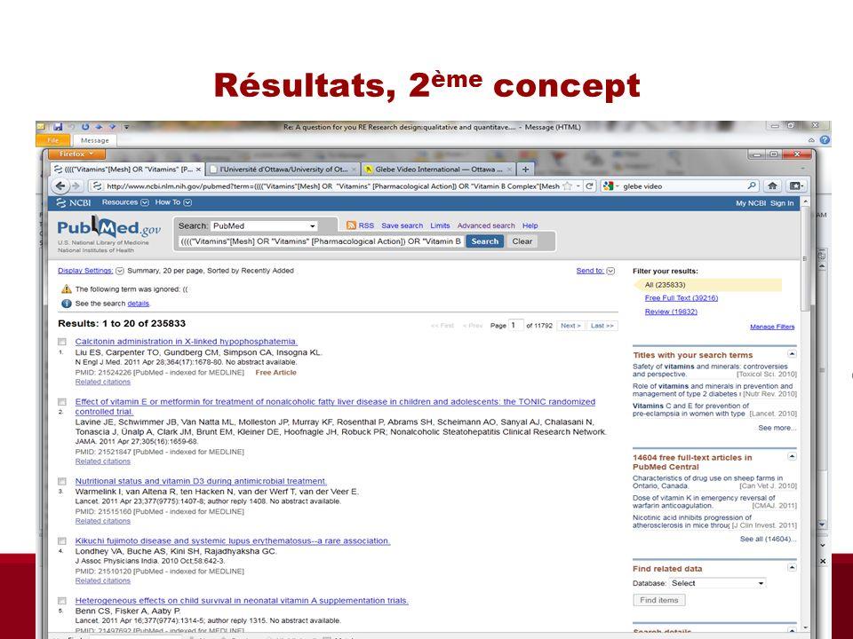 Résultats, 2 ème concept Bibliothèque des sciences de la santé automne 2013