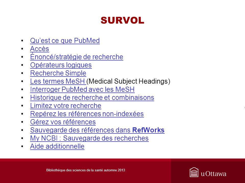 SURVOL Quest ce que PubMed AccèsAccès Énoncé/stratégie de recherche Opérateurs logiques Recherche Simple Les termes MeSH (Medical Subject Headings)Les