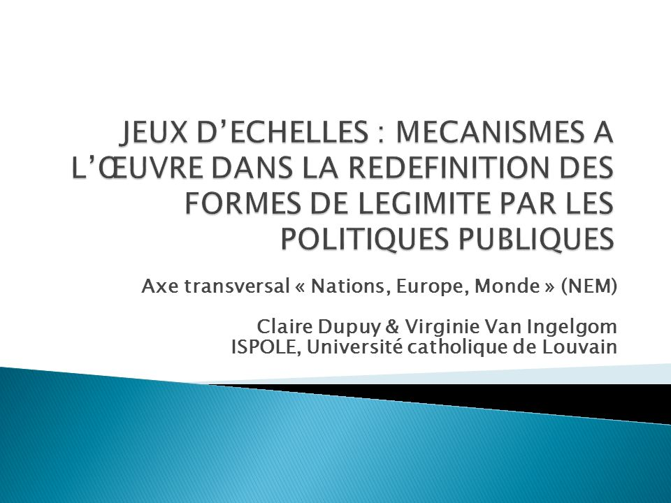 Axe transversal « Nations, Europe, Monde » (NEM) Claire Dupuy & Virginie Van Ingelgom ISPOLE, Université catholique de Louvain