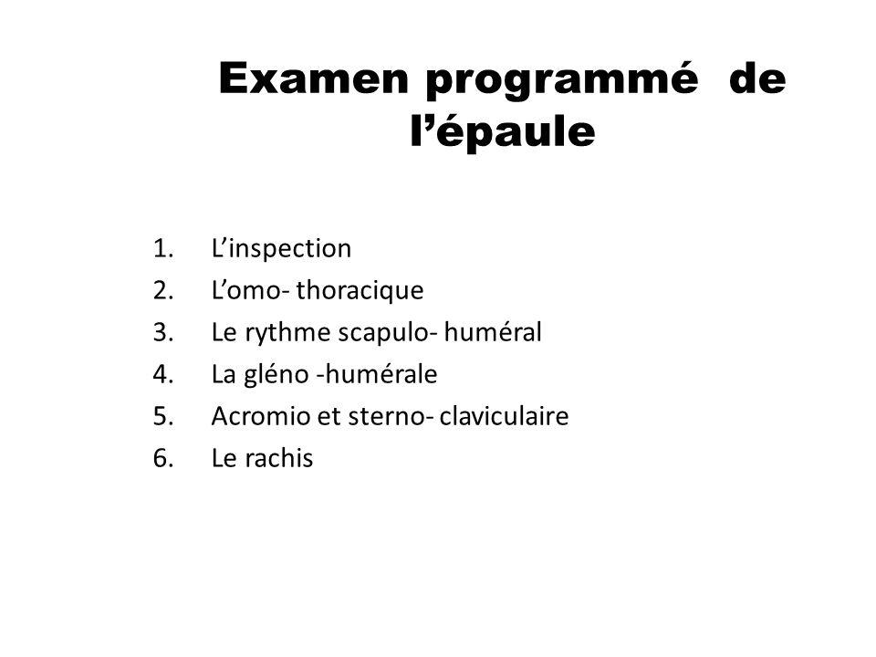 Examen programmé de lépaule 1.Linspection 2.Lomo- thoracique 3.Le rythme scapulo- huméral 4.La gléno -humérale 5.Acromio et sterno- claviculaire 6.Le