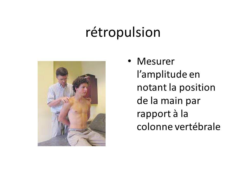 rétropulsion Mesurer lamplitude en notant la position de la main par rapport à la colonne vertébrale