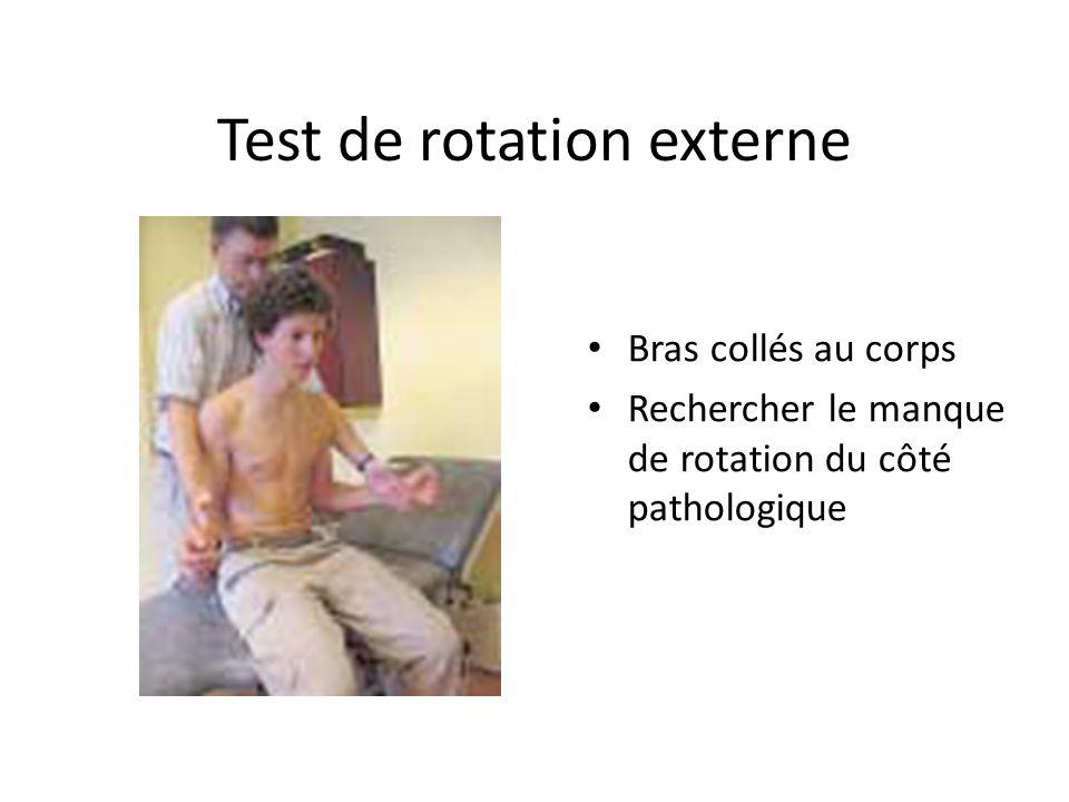 Test de rotation externe Bras collés au corps Rechercher le manque de rotation du côté pathologique
