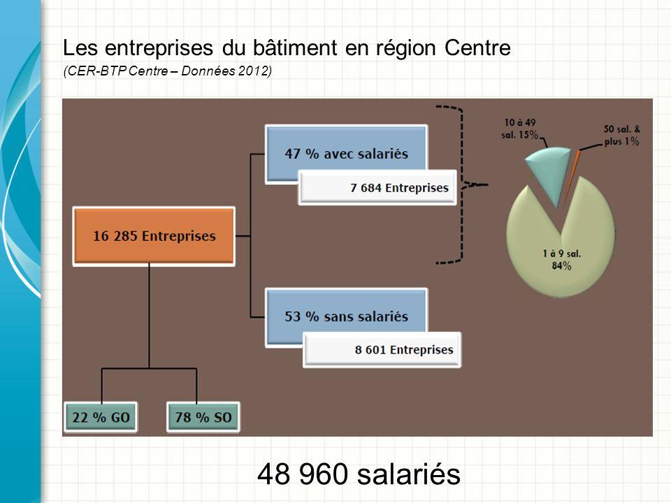 Les entreprises du bâtiment en région Centre (CER-BTP Centre – Données 2012) 48 960 salariés