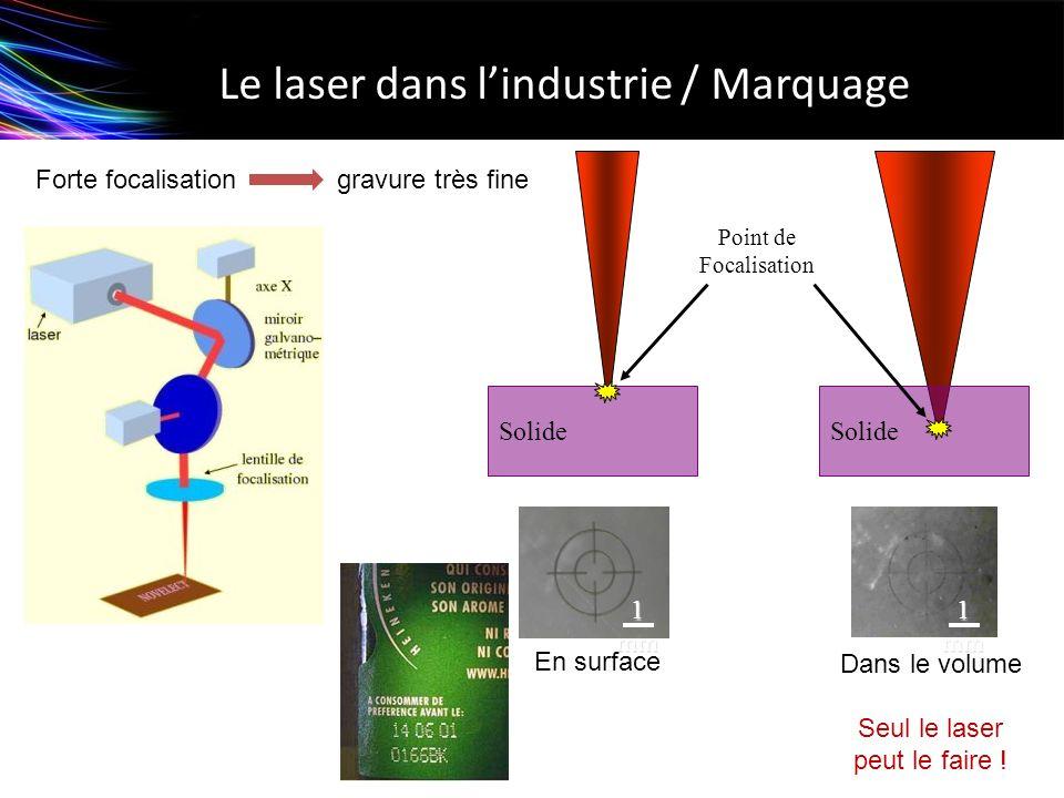 Le laser dans lindustrie / Marquage Point de Focalisation Solide 1 mm En surface Dans le volume Seul le laser peut le faire ! Forte focalisation gravu