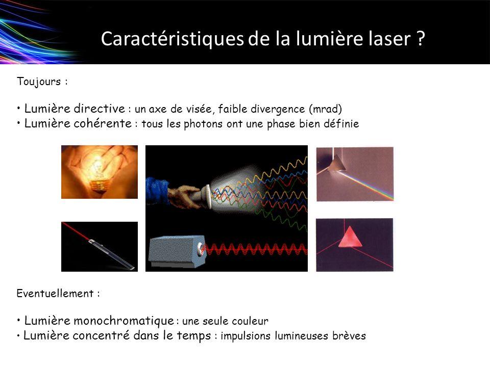 Caractéristiques de la lumière laser ? Toujours : Lumière directive : un axe de visée, faible divergence (mrad) Lumière cohérente : tous les photons o