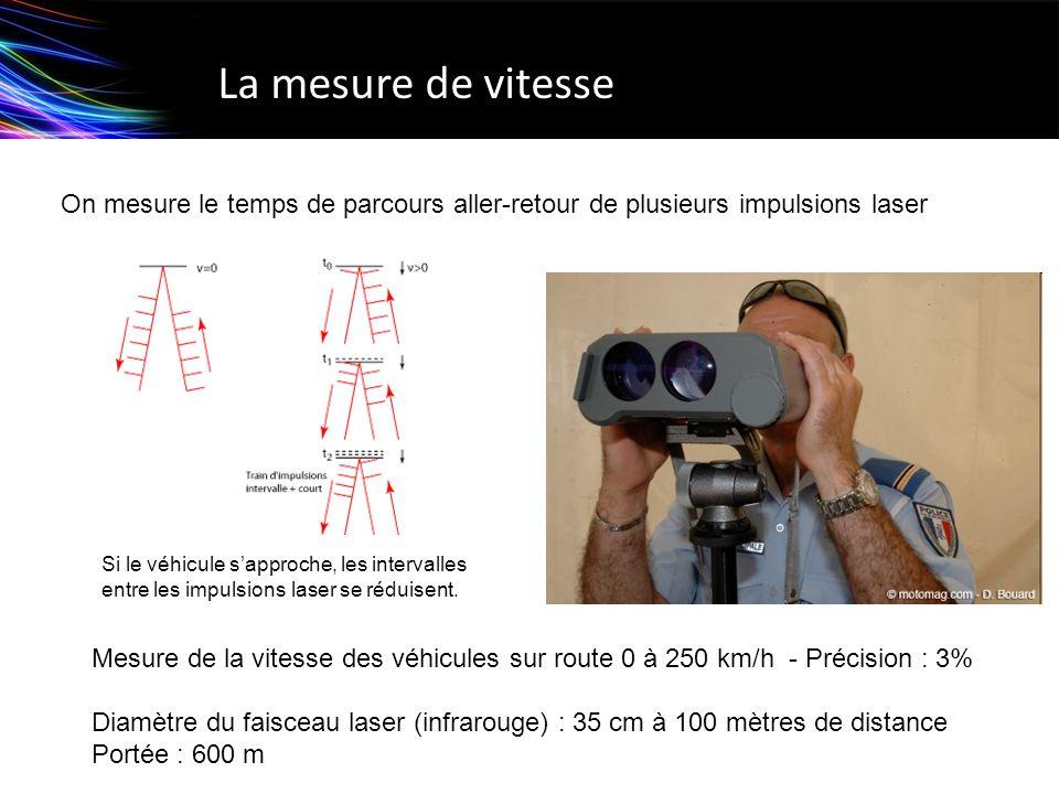 La mesure de vitesse Mesure de la vitesse des véhicules sur route 0 à 250 km/h - Précision : 3% Diamètre du faisceau laser (infrarouge) : 35 cm à 100