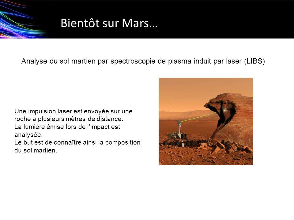 Bientôt sur Mars… Analyse du sol martien par spectroscopie de plasma induit par laser (LIBS) Une impulsion laser est envoyée sur une roche à plusieurs