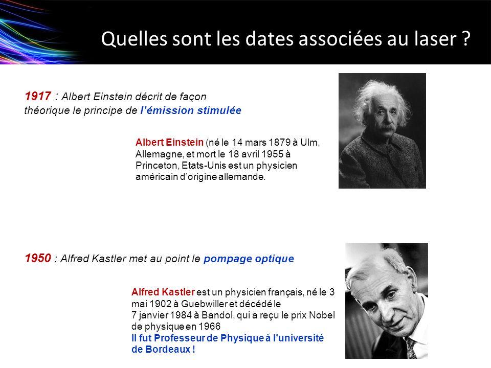 Quelles sont les dates associées au laser ? 1917 : Albert Einstein décrit de façon théorique le principe de lémission stimulée 1950 : Alfred Kastler m
