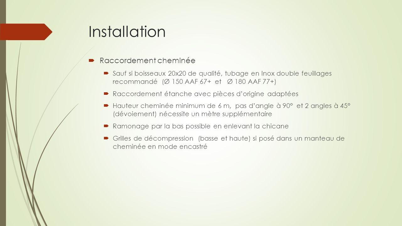 Installation Raccordement cheminée Sauf si boisseaux 20x20 de qualité, tubage en Inox double feuillages recommandé (Ø 150 AAF 67+ et Ø 180 AAF 77+) Ra