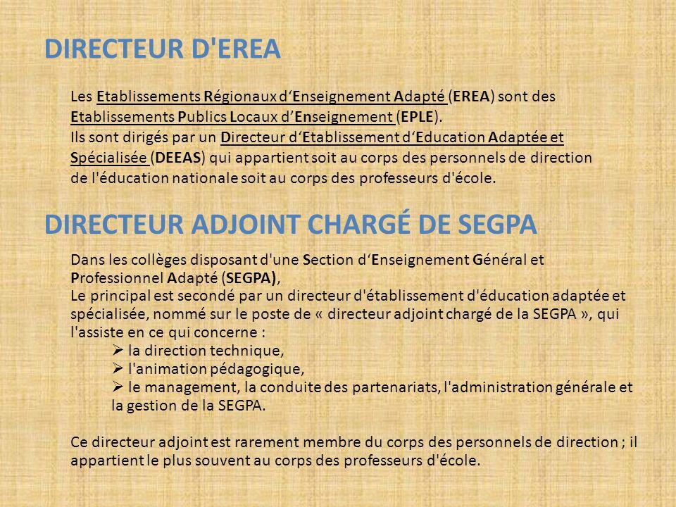 DIRECTEUR D'EREA Les Etablissements Régionaux dEnseignement Adapté (EREA) sont des Etablissements Publics Locaux dEnseignement (EPLE). Ils sont dirigé