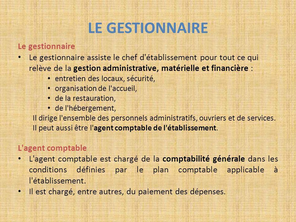 LE GESTIONNAIRE Le gestionnaire Le gestionnaire assiste le chef d'établissement pour tout ce qui relève de la gestion administrative, matérielle et fi