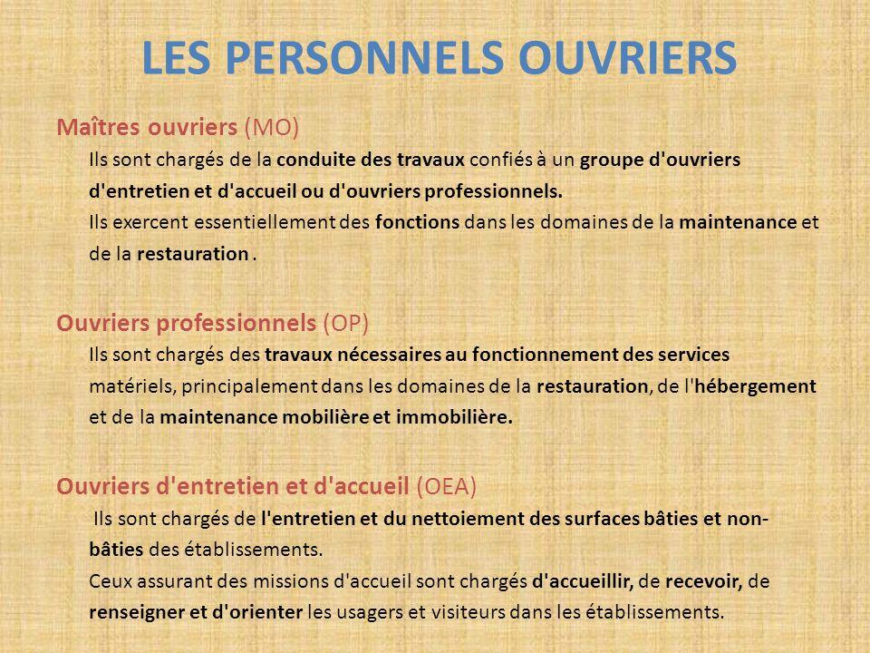 LES PERSONNELS OUVRIERS Maîtres ouvriers (MO) Ils sont chargés de la conduite des travaux confiés à un groupe d'ouvriers d'entretien et d'accueil ou d