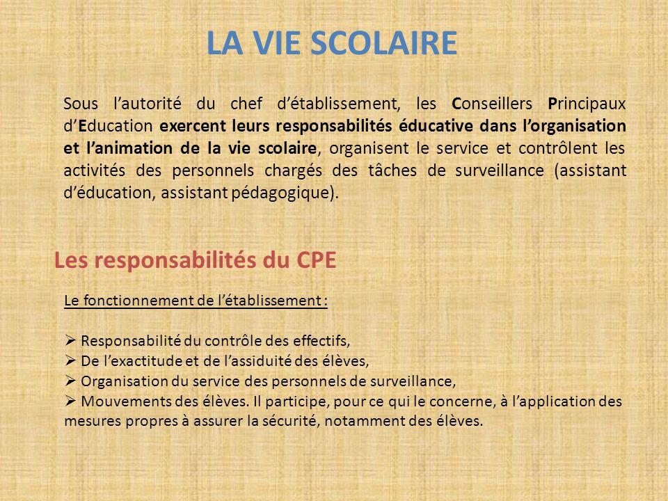 LA VIE SCOLAIRE Sous lautorité du chef détablissement, les Conseillers Principaux dEducation exercent leurs responsabilités éducative dans lorganisati