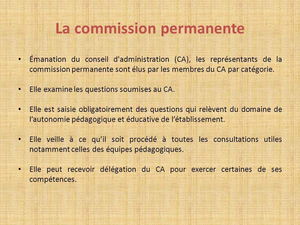 La commission permanente Émanation du conseil d'administration (CA), les représentants de la commission permanente sont élus par les membres du CA par