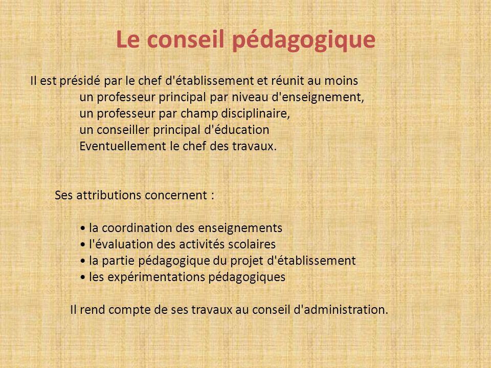 Le conseil pédagogique Il est présidé par le chef d'établissement et réunit au moins un professeur principal par niveau d'enseignement, un professeur