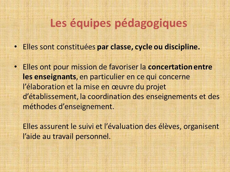 Les équipes pédagogiques Elles sont constituées par classe, cycle ou discipline. Elles ont pour mission de favoriser la concertation entre les enseign
