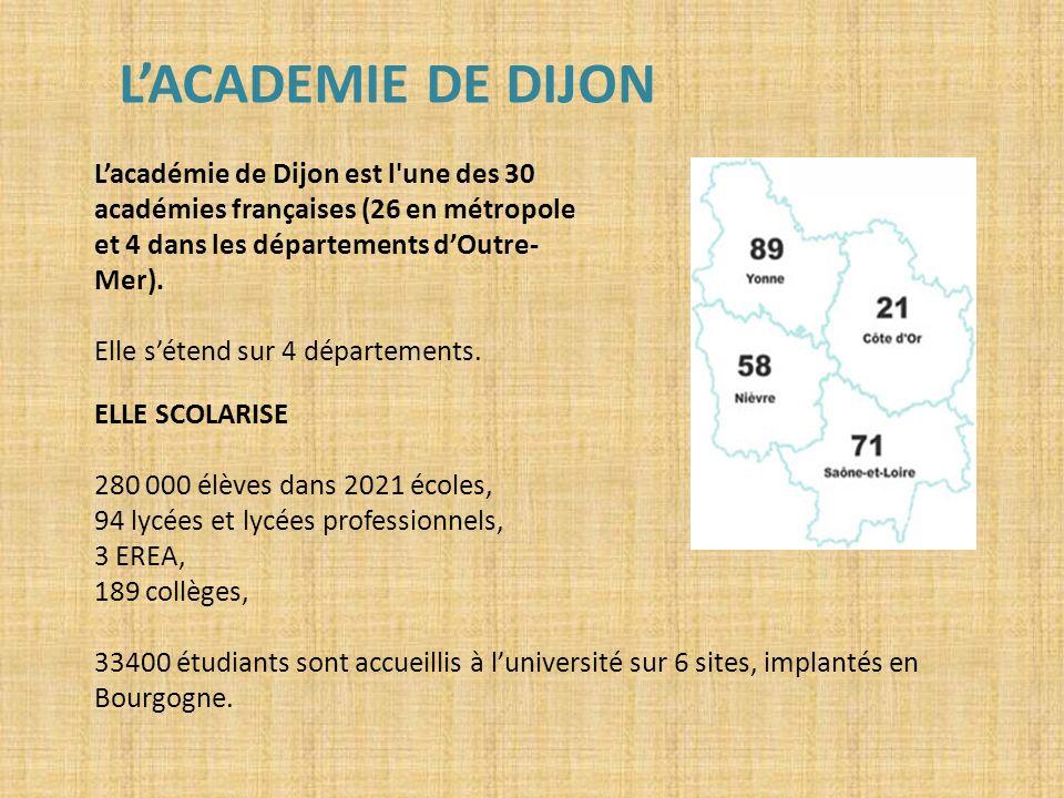 LACADEMIE DE DIJON Lacadémie de Dijon est l'une des 30 académies françaises (26 en métropole et 4 dans les départements dOutre- Mer). Elle sétend sur