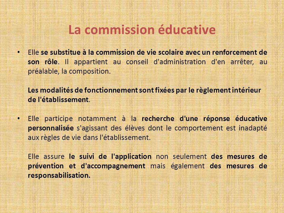 La commission éducative Elle se substitue à la commission de vie scolaire avec un renforcement de son rôle. Il appartient au conseil d'administration