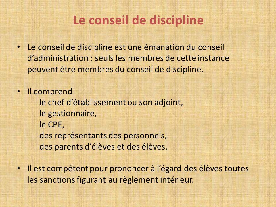 Le conseil de discipline Le conseil de discipline est une émanation du conseil dadministration : seuls les membres de cette instance peuvent être memb