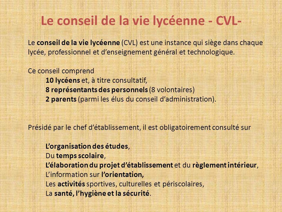 Le conseil de la vie lycéenne - CVL- Le conseil de la vie lycéenne (CVL) est une instance qui siège dans chaque lycée, professionnel et denseignement