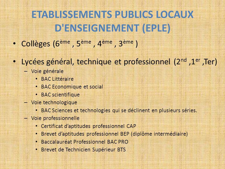 ETABLISSEMENTS PUBLICS LOCAUX D'ENSEIGNEMENT (EPLE) Collèges (6 ème, 5 ème, 4 ème, 3 ème ) Lycées général, technique et professionnel (2 nd,1 er,Ter)