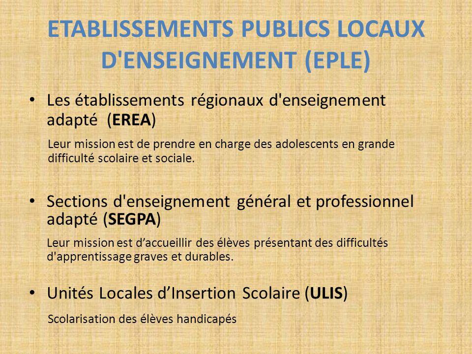 ETABLISSEMENTS PUBLICS LOCAUX D'ENSEIGNEMENT (EPLE) Sections d'enseignement général et professionnel adapté (SEGPA) Leur mission est daccueillir des é