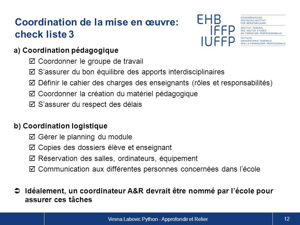 Coordination de la mise en œuvre: check liste 3 a) Coordination pédagogique Coordonner le groupe de travail Sassurer du bon équilibre des apports inte