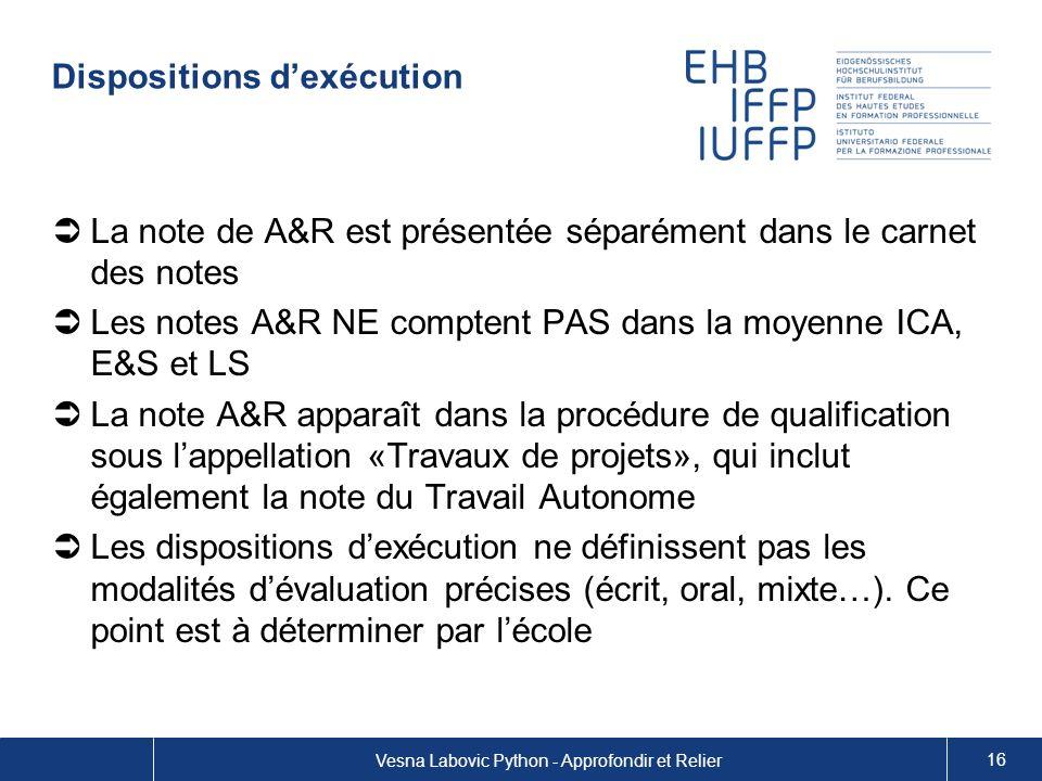 Dispositions dexécution La note de A&R est présentée séparément dans le carnet des notes Les notes A&R NE comptent PAS dans la moyenne ICA, E&S et LS