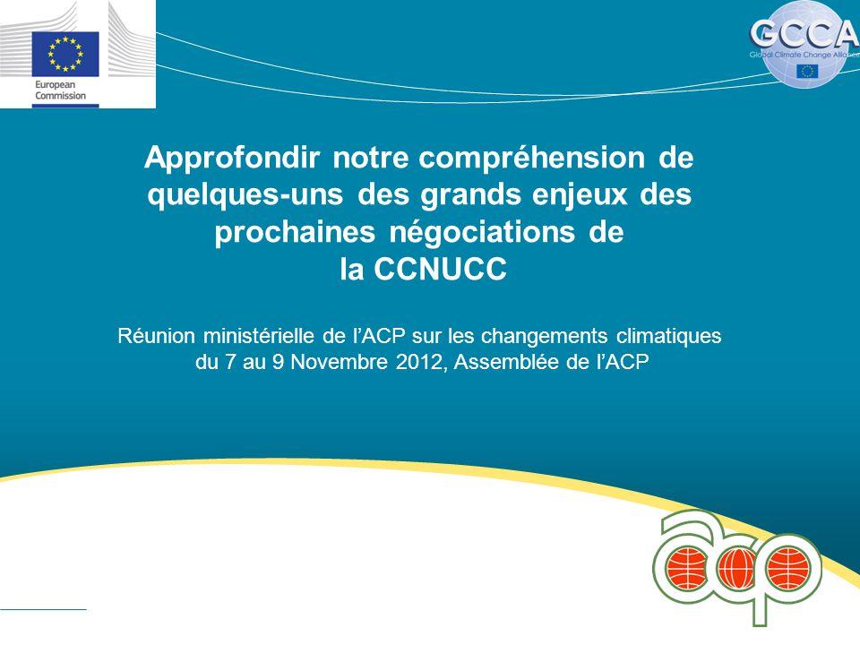 Approfondir notre compréhension de quelques-uns des grands enjeux des prochaines négociations de la CCNUCC Réunion ministérielle de lACP sur les changements climatiques du 7 au 9 Novembre 2012, Assemblée de lACP