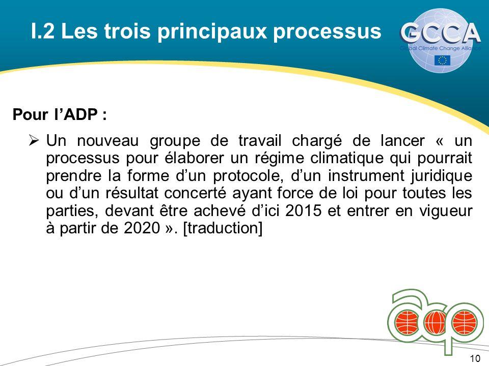 I.2 Les trois principaux processus Pour lADP : Un nouveau groupe de travail chargé de lancer « un processus pour élaborer un régime climatique qui pourrait prendre la forme dun protocole, dun instrument juridique ou dun résultat concerté ayant force de loi pour toutes les parties, devant être achevé dici 2015 et entrer en vigueur à partir de 2020 ».