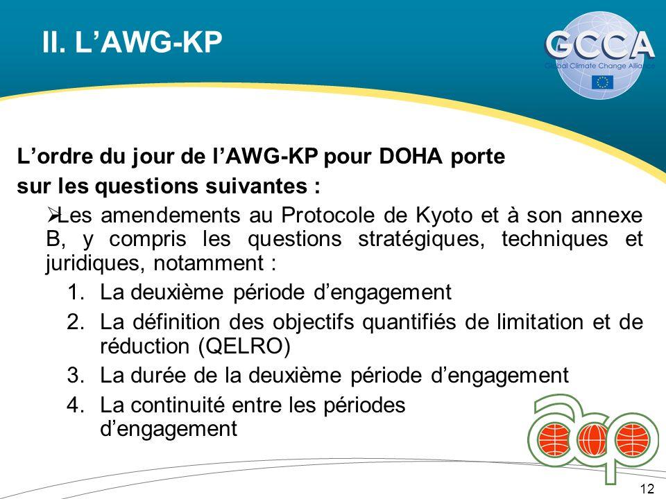 II. LAWG-KP Lordre du jour de lAWG-KP pour DOHA porte sur les questions suivantes : Les amendements au Protocole de Kyoto et à son annexe B, y compris