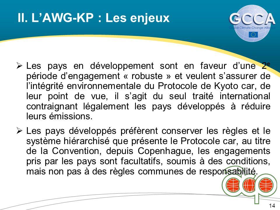 II. LAWG-KP : Les enjeux 14 Les pays en développement sont en faveur dune 2 e période dengagement « robuste » et veulent sassurer de lintégrité enviro