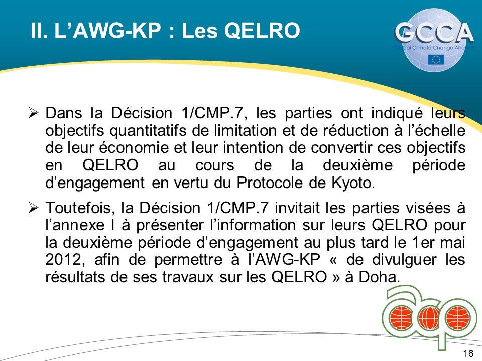 II. LAWG-KP : Les QELRO 16 Dans la Décision 1/CMP.7, les parties ont indiqué leurs objectifs quantitatifs de limitation et de réduction à léchelle de