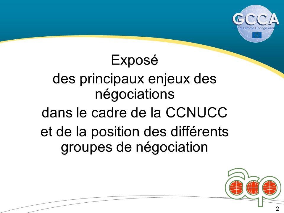 Exposé des principaux enjeux des négociations dans le cadre de la CCNUCC et de la position des différents groupes de négociation 2