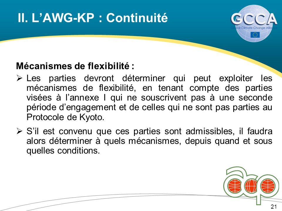 II. LAWG-KP : Continuité 21 Mécanismes de flexibilité : Les parties devront déterminer qui peut exploiter les mécanismes de flexibilité, en tenant com