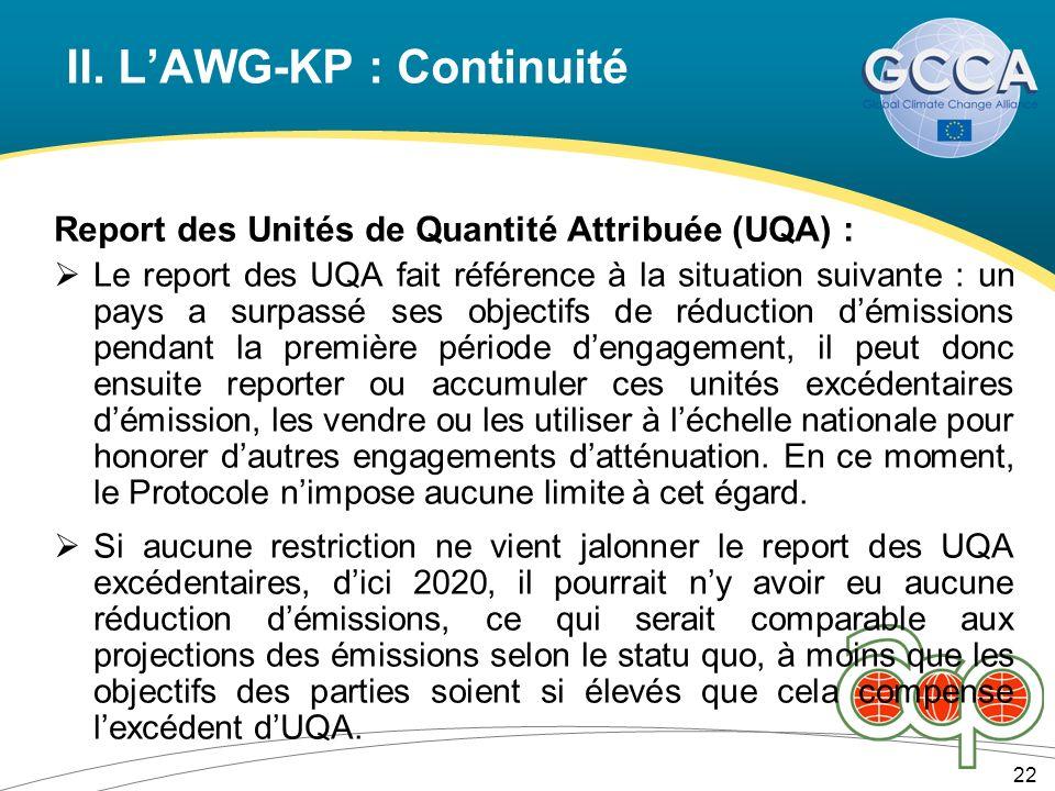 II. LAWG-KP : Continuité 22 Report des Unités de Quantité Attribuée (UQA) : Le report des UQA fait référence à la situation suivante : un pays a surpa