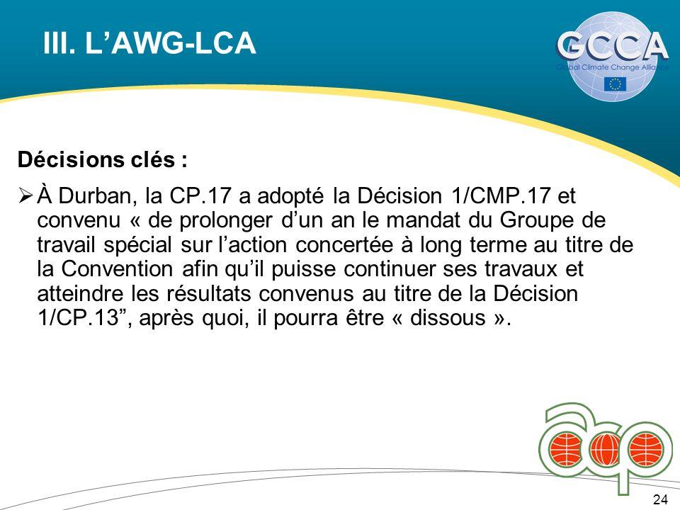 III. LAWG-LCA Décisions clés : À Durban, la CP.17 a adopté la Décision 1/CMP.17 et convenu « de prolonger dun an le mandat du Groupe de travail spécia
