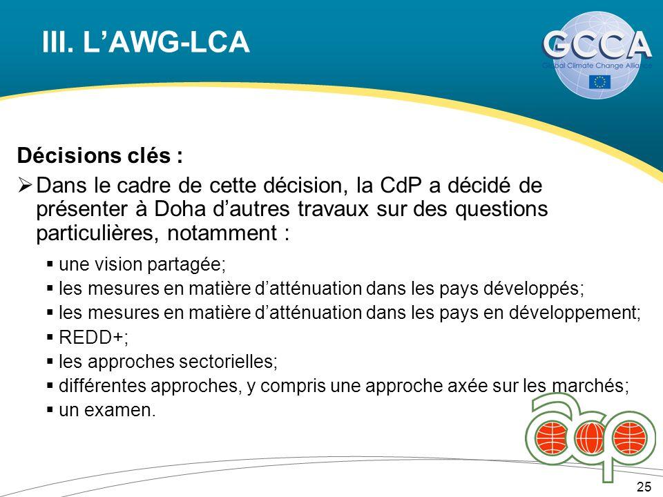 III. LAWG-LCA Décisions clés : Dans le cadre de cette décision, la CdP a décidé de présenter à Doha dautres travaux sur des questions particulières, n