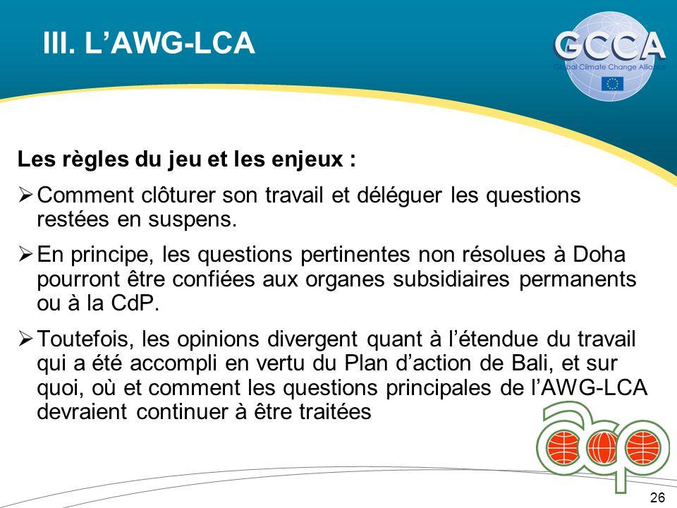 III. LAWG-LCA Les règles du jeu et les enjeux : Comment clôturer son travail et déléguer les questions restées en suspens. En principe, les questions